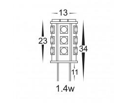 Havit HV9526 Yellow G4 12V 1.4W LED Bi-Pin Globe