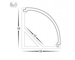 Havit HV9691-1616 3 Metre Aluminium Corner LED Profile with Opal Diffuser
