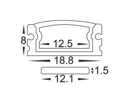 Havit HV9693-1808 3 Metre Aluminium Shallow Square Weatherproof LED Profile with Opal Diffuser