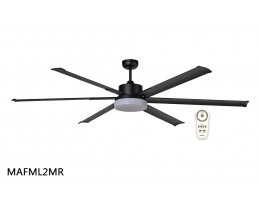 "Martec Albatross DC 2100mm 84"" 6 Blade Industrial Style Ceiling Fan with Remote with CCT 24W LED Light & Remote"