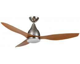 """Martec Vantage DC Brushed Nickel 1300mm 52"""" with 3 Bamboo Colour Blades Ceiling Fan with 20W Dimmable CCT LED Light & Remote"""