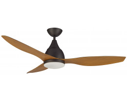 Martec Vantage DC Brushed Nickel 1300mm 3 Old Bronze Merbau Colour Blades Ceiling Fan with 20W Dimmable CCT LED Light And Remote