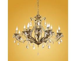 16 Light Bronze Crystal Chandelier