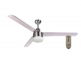 """Martec Trisera Brushed Nickel 1400mm 56"""" Interchangable 3 or 4 Blade Ceiling Fan with Clipper Light & Remote"""