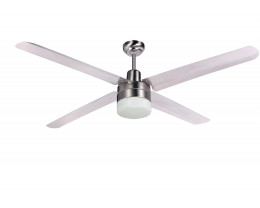"Martec Trisera Brushed Nickel 1200mm 48"" Interchangable 3 or 4 Blade Ceiling Fan with Clipper Light"