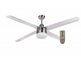 """Martec Trisera Brushed Nickel 1300mm 52"""" Interchangable 3 or 4 Blade Ceiling Fan with Clipper Light & Remote"""
