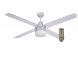"Martec Trisera White 1200mm 48"" Interchangable 3 or 4 Blade Ceiling Fan with Clipper Light & Remote"