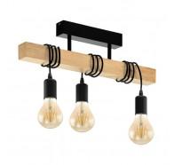 Eglo Townshend Black & Timber 3 Light Bar Close to Ceiling Light