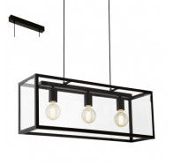 Eglo Charterhouse Glass 3 Light Rectangular Pendant Light