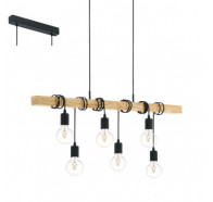 Eglo Townshend Black & Timber 6 Light Bar Pendant Light