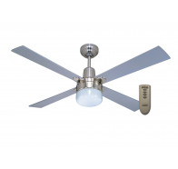 "Martec Alpha Brushed Nickel 1200mm 48"" Ceiling Fan with Clipper Light & Remote"