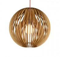 Fiorentino Atlantis 1 Light Wood Ball Pendant Lights