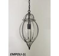Fiorentino Empoli 1 Light Black Pendant With Clear Glass