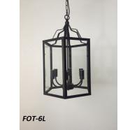 Fiorentino Fot 6L Black Cage Pendant Clear Glass Panels
