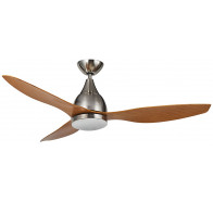 "Martec Vantage DC Brushed Nickel 1300mm 52"" with 3 Bamboo Colour Blades Ceiling Fan with 20W Dimmable CCT LED Light & Remote"