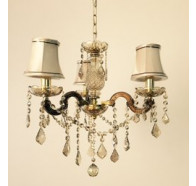 Fiorentino Notredame Amber Crystal Chandeliers With Beige Shade