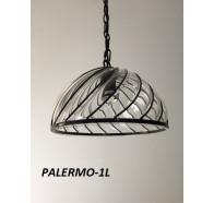 Fiorentino Palermo 1 Light Black Pendant With Clear Glass