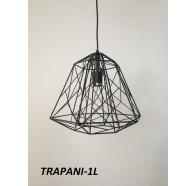 Fiorentino Trapani 1 Light Black Frame Pendant