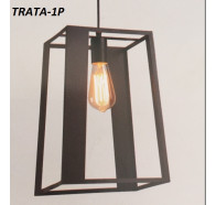 Fiorentino Trato 1 Light Pendant Black Frame