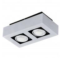 Eglo Loke 1 LED 2 Lights Brushed Aluminium Gimble Surface Mounted Ceiling Lights