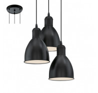 Eglo Priddy Vintage Black & White Inner 3 Light Pendant Light