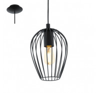 Eglo Newtown 1 Light Black Metal Cage Pendant Light