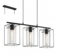 Eglo Loncino 3 Light Glass Pendant Light black