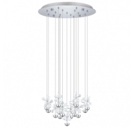 Eglo Pianopoli LED 15 Light Round Chrome Crystal Pendant Lights