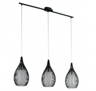 Eglo Razoni 3 Light Steel Cage & Frosted Glass Pendant Light