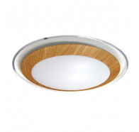 Telbix Astrid 22W LED Oyster Light with Oak Trim Finish