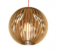 Fiorentino Atlantis 1 Light Wood Ball Pendant Lights