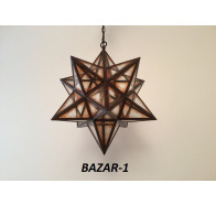 Fiorentino Bazar 1 Light Brown Star Shape Frame Pendant