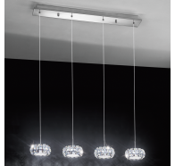 Eglo Corliano LED Chrome & Crystal 4 Lights Bar Pendant Light