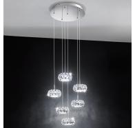 Eglo Corliano LED Chrome & Crystal 6 Round Light Pendant Light