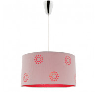 Cougar Fabian 1 Light Pendant Light with Silver & Red Shade