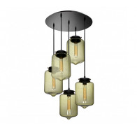 V & M London Glass 5 Light Pendant