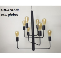 Fiorentino Lugano 8 Light Black Cast Aluminium Pendant