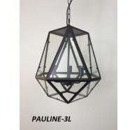 Fiorentino Pauline 3 Light Black Pendant With Clear Glass