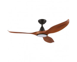 "Eglo Noosa 52"" DC 3 ABS Blade Teak and Black Indoor/Outdoor Ceiling Fan with Dimmable 18W CCT LED Light"