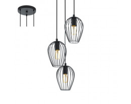 Eglo Newtown 3 Light Round Black Metal Cage Pendant Light