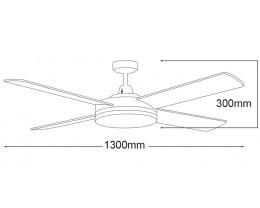 "Martec Razor 1300mm 52"" Matt Black 4 Blade Ceiling Fan with 28W LED Dimmable Light"