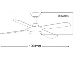 "Martec Coolmaster Rocket 48"" (1200mm) White ABS Ceiling Fan Only"