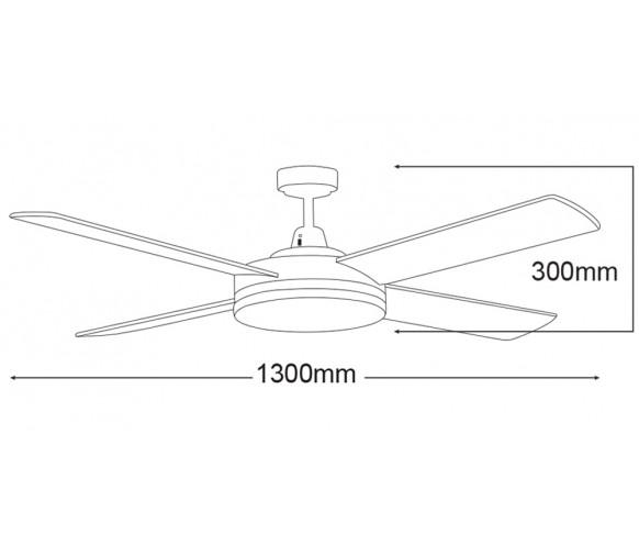 Martec Razor Ceiling Fan With 28w Light Eurolight